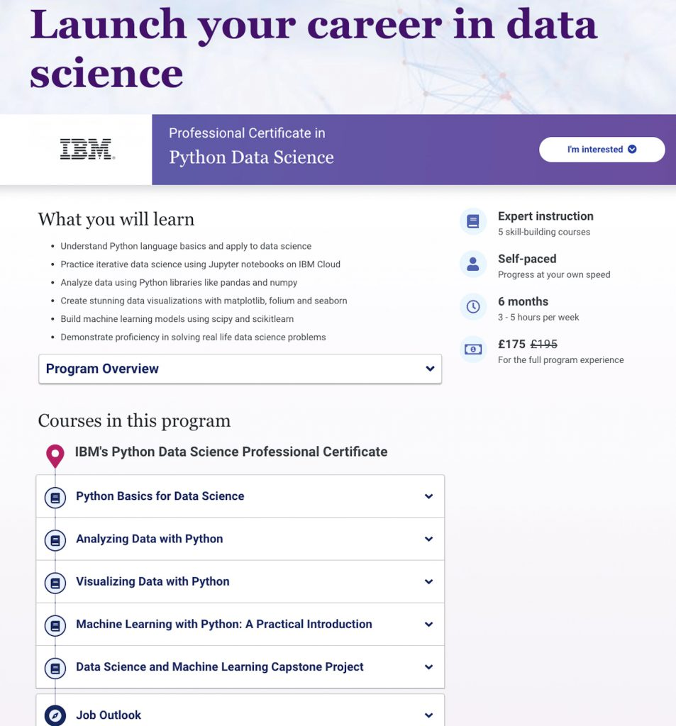 ibm professional certificate data science python course image
