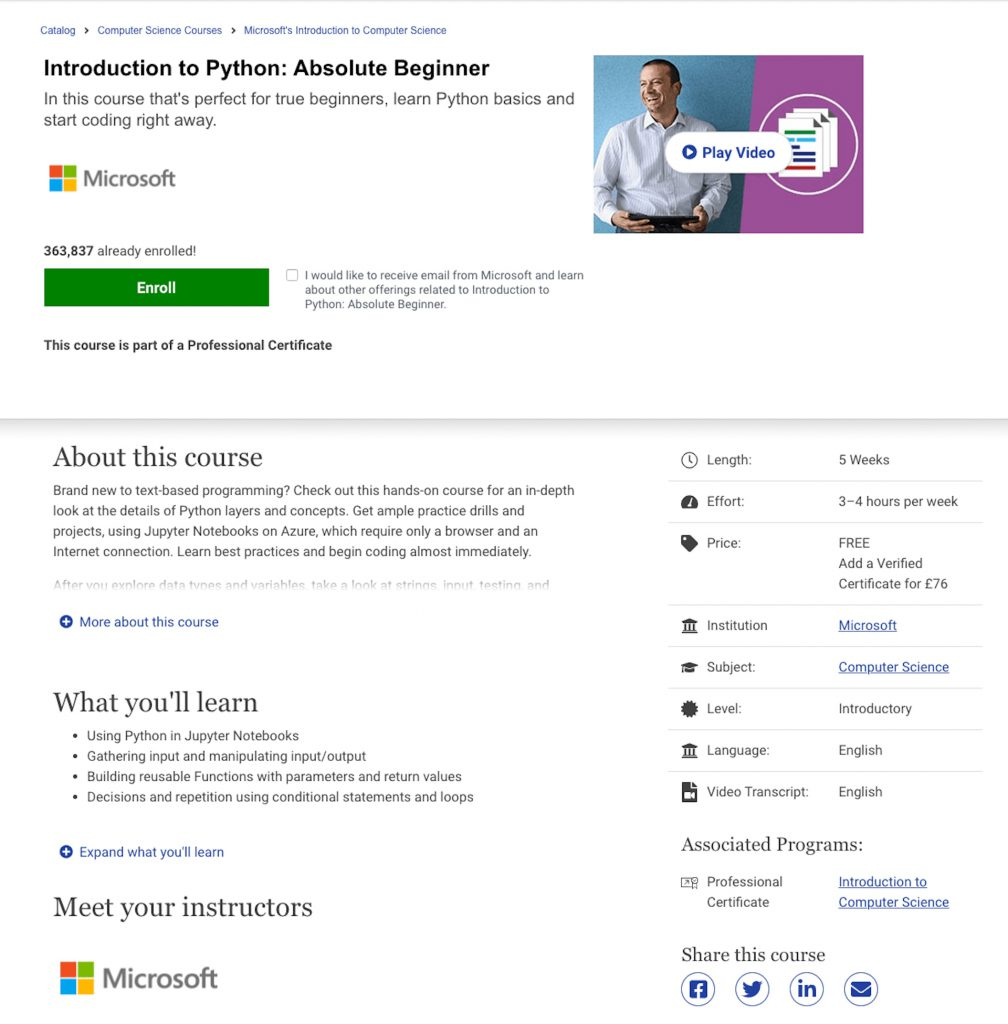 microsoft absolute beginner python course image
