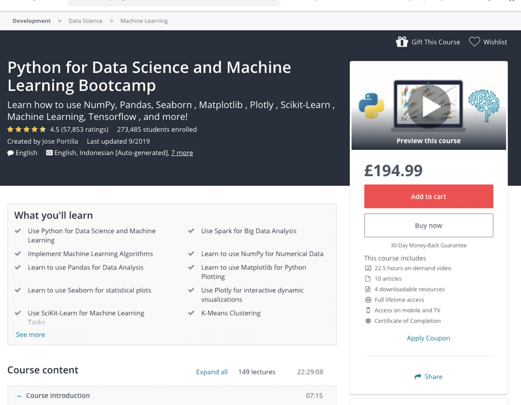 python data science boot camp course