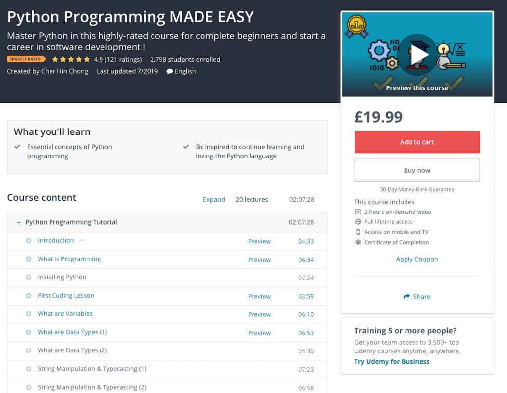 python programming made easy course