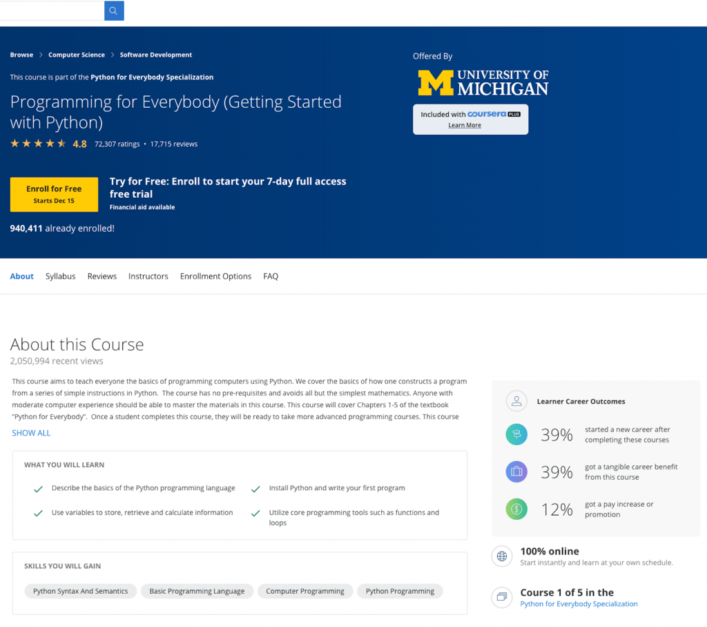 university of michigan getting started with python course