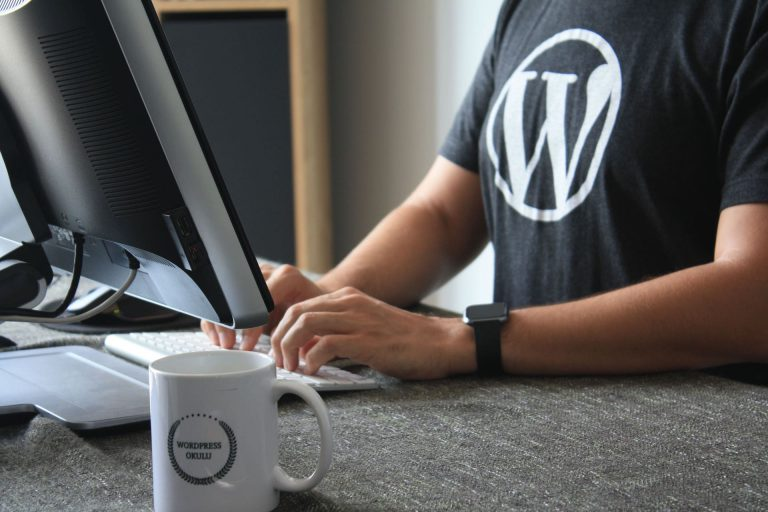 wordpress tshirt laptop worker